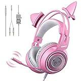SOMIC G951S Auriculares Rosa para Juegos con micrófono, Auricular Rosa Oreja de...