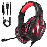 Auriculares Gaming PS4 PS5, Cascos Gaming PC con Micrófono, Reducción de...