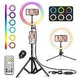 WWDOLL Anillo de luz LED Selfie con 26 RGB Colores, 10' Aro de luz con 2...