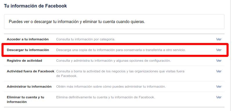 que datos tiene facebook sobre mi y como descargarlos
