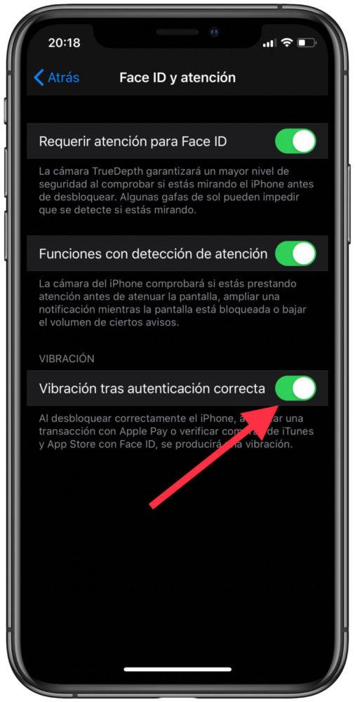como activar vibracion face id iphone