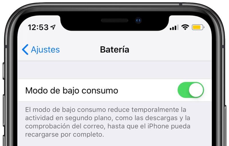 activar modo de bajo consumo en el iphone
