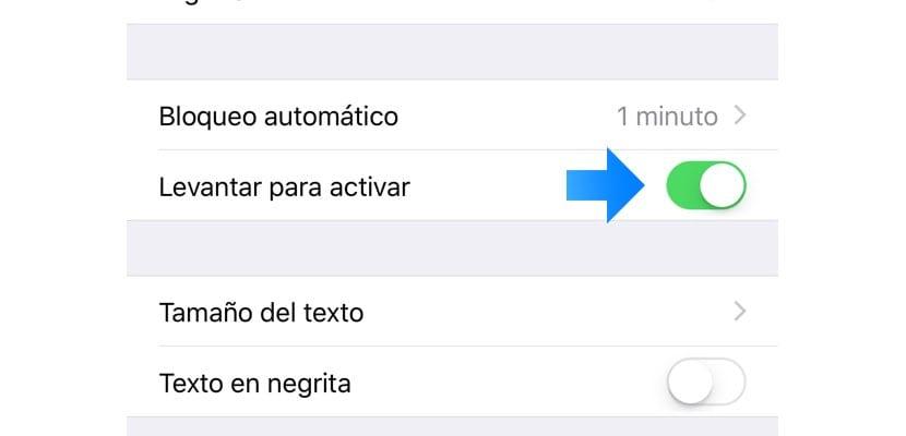 levantar para activar en el iphone