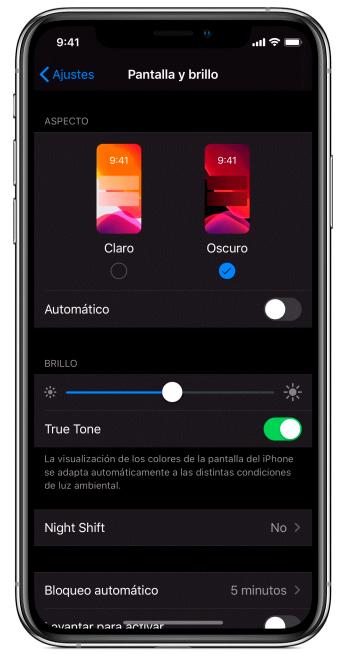activar modo oscuro en iphone