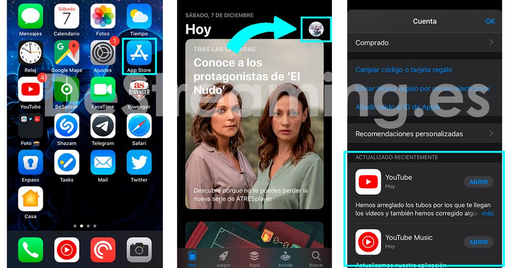 donde actualizar las apps en ios 13