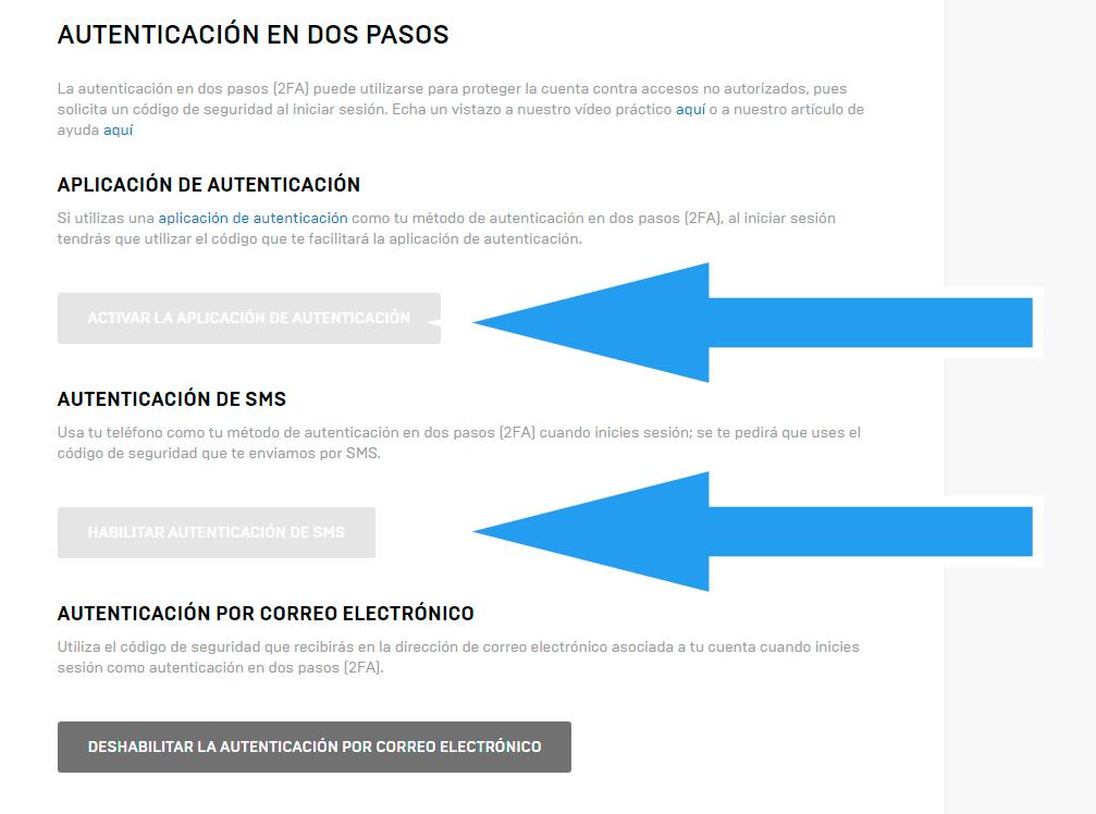 activar verificacion 2 pasos fortnite