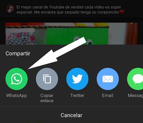 como pongo un video de youtube en whatsapp