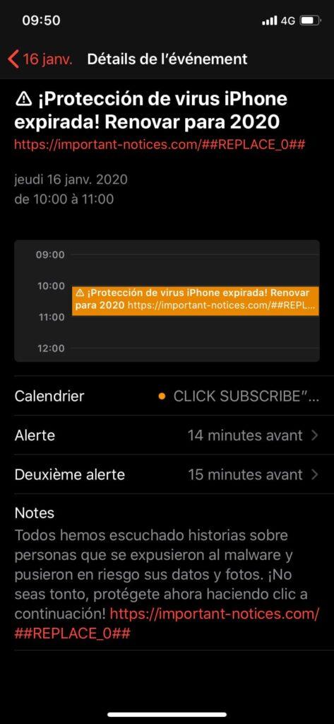 virus iphone calendario