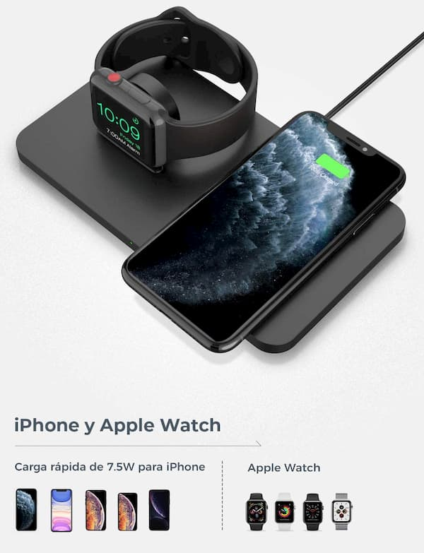 base carga inalámbrica iphone y apple watch