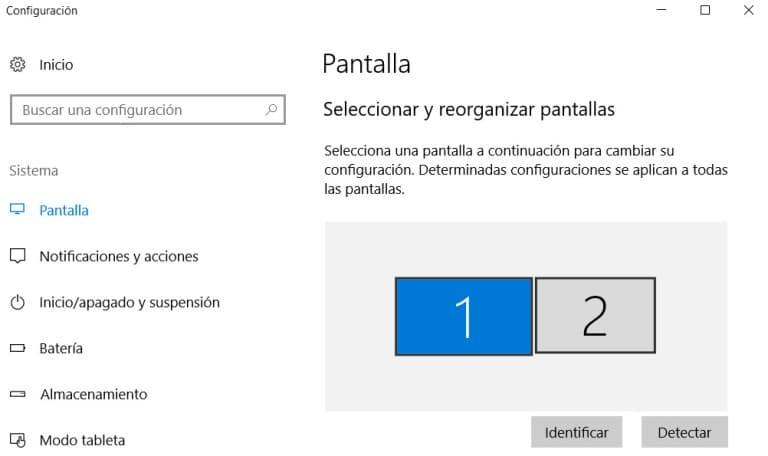 configurar dos monitores en windows 10