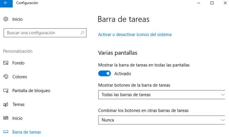 configurar barra de tareas con varios monitores