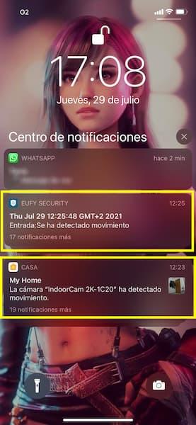 camara envia notificaciones al iphone
